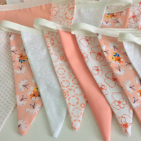 Peach pastel bunting, romantic wedding decoration 20ft long