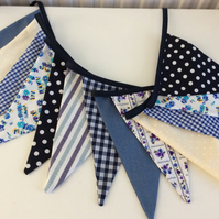 Bunting - 12 flags 8ft long with ties, cream and vintage blues