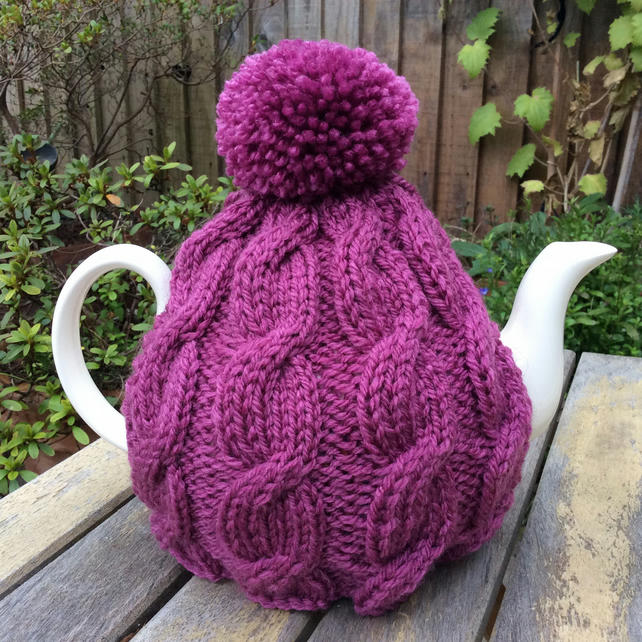 Cable Tea Cosy - plum pink cosy, woolly hug for your tea cosy 6 cup pot
