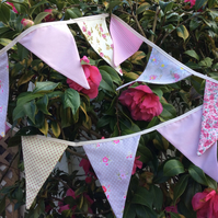 Dusky Pink Bunting - 11 flags 7ft long or 2.4m a mix of pink and beige shades
