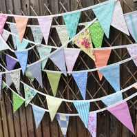Pastel Long Bunting - 48 flags 33ft or 10m long, wedding bunting, party bunting