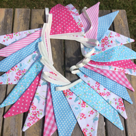 Pink and blue party bunting -12ft flags plus ties pink blue mix birthdays