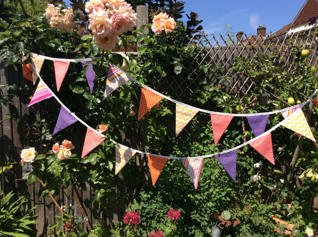 Bright Party Bunting - 24 flags coral, yellow, pink, purple 4.25m long