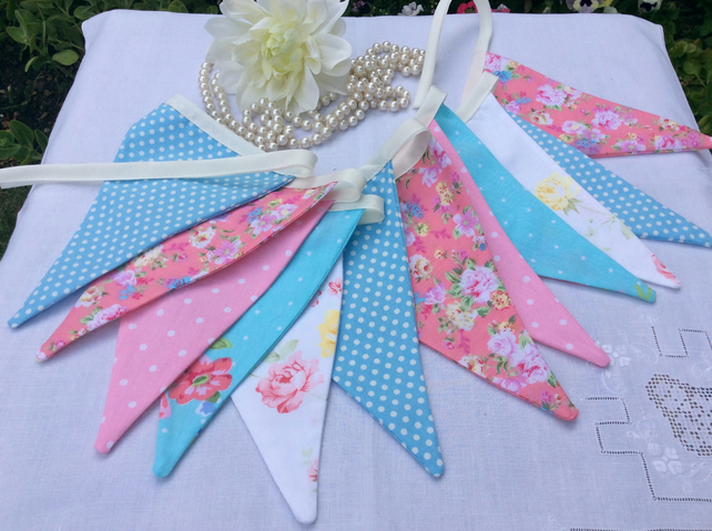 Pink and blue Bunting - 12 flags, spots, floral and patterns 2.4m with ties