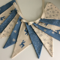 Christmas Bunting - 12 flags Scandinavian Style in Blue with reindeer and hearts