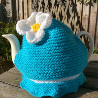 Daisy Tea Cosy in Turquoise, knitted tea cosy 6 cup pot