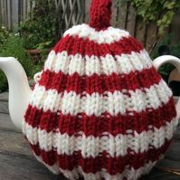 Red and White Tea Cosy, knitted 6 cup pot