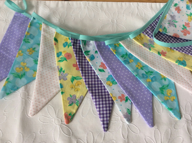 Bunting with Spring Pastels and florals, Fabric Garland, Easter decoration