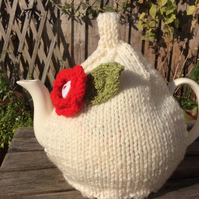 Cream Aran Tea Cosy with Red flower, knitted tea cosy 6 cup pot