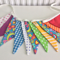 Rainbow bunting flags- peace and love 11 flags playroom, bedrooms or photo prop