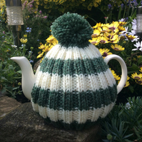 Aran Tea Cosy in green and cream with a bobble, knitted tea cosy 6 cup pot