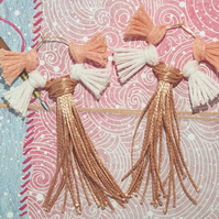 Tassel Earrings in Gold and Blush