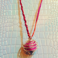 Pink Howlite Wire-Wrapped Pendant with Macrame Chain