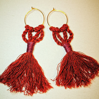 Macrame Tassel Hoop Earrings Rust Russet Orange