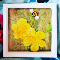 A Taste of Spring! Textile Art Daffodils and Bee Needlefelted Springtime Easter