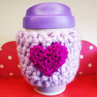 Purple and Pink Heart Crocheted Mug Cosy