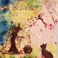 "Mystical Wiccan Greetings Card ""Believe"" Witch, Cat and Fairy"