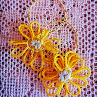 Yellow Daisy Hoop Earrings