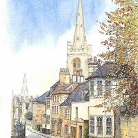 A4 Mounted Print from original watercolour painting of Stamford Lincolnshire