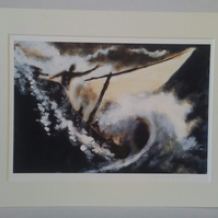 Christian art A4 Print from original oil painting Jesus calms the storm.