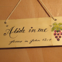Hand painted wooden hanging plaque with Bible Verse.