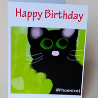 "5x7"" ""Black Cat"" Happy Birthday"