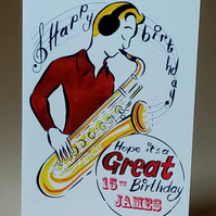 "7x5"" Happy Birthday Saxophone (Personalise with any age and name)"