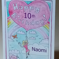 "5x7"" Girls Happy Birthday Balloon (personalise with any name and age)"