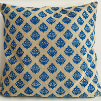 Damask Cushion Cover, Hand Printed Cushion Cover, Stencilled Pillow