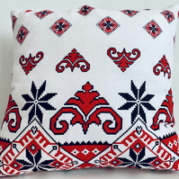 Rustic Cushion Cover, Traditional Motifs Cushion Cover, Red and Black Pillow