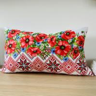 Rustic Cushion Cover, Traditional Motifs Cushion Cover, Poppies