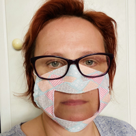 Lip Reading Communicator Face Mask - Cotton Face Mask With Clear Window - UK