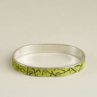 Bangle - Handmade Green & Black Polymer Clay Inlaid - Carved Surface Design