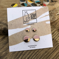 Ceramic button earrings - Powder pink duo