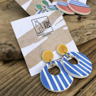Ceramic nautical earrings - honey yellow