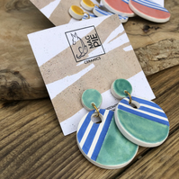 Ceramic nautical earrings - green