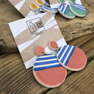 Ceramic nautical earrings - pink
