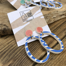 Ceramic nautical earrings - pink hoop