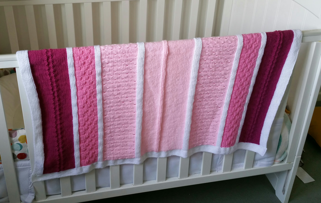 Hand-knitted Babies Cot Blanket, newborn gift