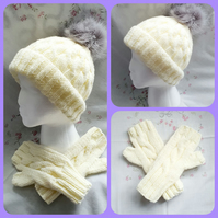 Cream Pompom Hat and Fingerless gloves