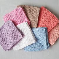 Medium Cotton Facecloths, hand-knitted