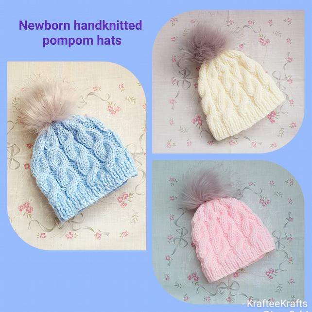 Newborn Hand-knitted Pompom Hats