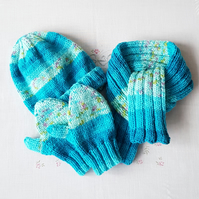 Childs matching hat, scarf and mittens set, hand-knitted