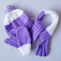 Childs matching hand-knitted hat, scarf and mittens set