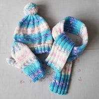 Childrens matching set, hand-knitted hat, scarf and mittens