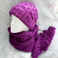 Ladies hat, cowl, and fingerless gloves, hand-knitted matching set