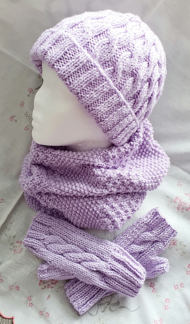 Lilac hand-knitted Aran Cable matching set, hat, cowl & fingerless mitts