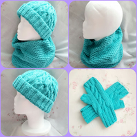 Turquoise hand-knitted hat, cowl, and fingerless gloves, matching set