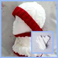 White & Red Ladies hand-knitted hat,cowl, & fingerless gloves