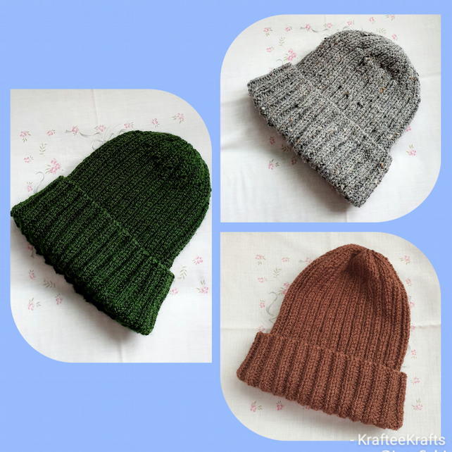 Mens large hand-knitted hats